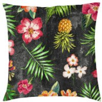 Tropical Pineapple Cushion - Black - Smooth Linen - Black
