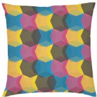 Geometric Repeat Cushion - Pink & Yellow - Textured Linen