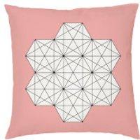Geometric Star Print Cushion - Coral - Faux Suede