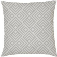 Geometric Chevron Print Cushion - Grey - Faux Suede