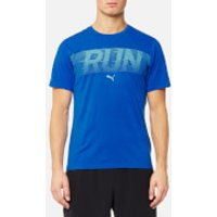 Puma Mens Run Short Sleeve T-Shirt - Lapis Blue Heather - L - Blue