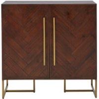 Brando Drinks Cabinet - Acacia Veneer/Antique Brass