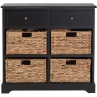 Vermont Two Drawer Cabinet with Water Hyacinth Baskets - Black