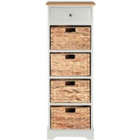Vermont Tall Cabinet with One Drawer and Water Hyacinth Baskets - Grey