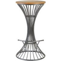 New Foundry Circular Bar Stool - Elm Wood/Metal
