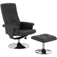 Recliner Chair with Footstool - Grey Leather Effect