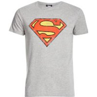 DC Comics Men's Superman Distressed Logo T-Shirt - Grey - XL - Grey - Superman Gifts