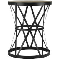Fifty Five South New Foundry Round Side Table - Fir Wood/Metal - Furniture Gifts