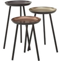 Fifty Five South Complements Round Side Tables (Set of 3) - Gold/Black - Furniture Gifts