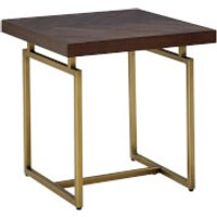 Fifty Five South Brando Side Table - Acacia Veneer/Antique Brass - Furniture Gifts