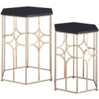 Fifty Five South Lexa Side Tables (Set of 2) - Rose Gold/Matt Black - Furniture Gifts
