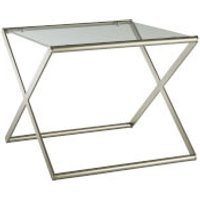 Fifty Five South Roma Side Table - Tempered Glass/Satin Nickel