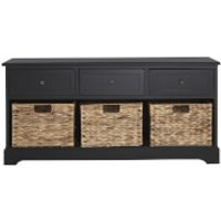 Fifty Five South Vermont Three Drawer Bench - Black - Bench Gifts