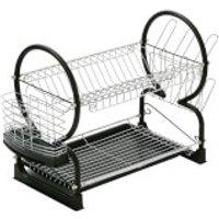 2 Tier Dish Drainer - Chrome/Black