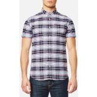 Superdry Mens Ultimate University Short Sleeve Oxford Shirt - Faculty White Check - L - White