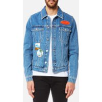 KENZO Men's Denim Jacket with Badges - Navy Blue - S - Blue