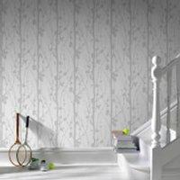Superfesco Solitude Glitter Wallpaper - Silver/White