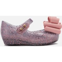 Mini Melissa Toddlers' Ultragirl Triple Bow 18 Ballet Flats - Blush Glitter - UK 5 - Pink