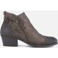 Hudson London Womens Apisi Leather Metallic Heeled Ankle Boots - Pewter - UK 6 - Silver