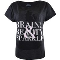 Beauty and the Beast Ladies Brains Beauty and Sparkle T-Shirt - Charcoal Marl - XL - Grey - Beauty Gifts