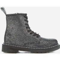Dr. Martens Kids' Delaney Pebble Metallic 8-Eye Lace Up Boots - Black/Silver - UK 10 Kids - Black/Si