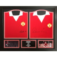 Bobby Charlton and Denis Law Signed and Framed Shirts