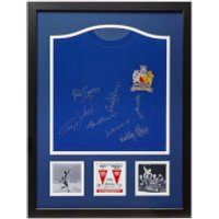 Manchester United 68 Shirt Signed and Framed (Includes 8 Signatures)