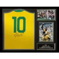 Pel Signed and Framed Brazil Shirt