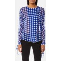 Diane von Furstenberg Women's Tie Neck Slit Blouse - Cossier Large Klein Blue - US 8/UK 12 - Blue