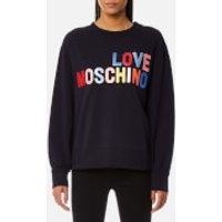 Love Moschino Womens Large Logo Sweatshirt - Navy - IT 40/UK 8 - Navy