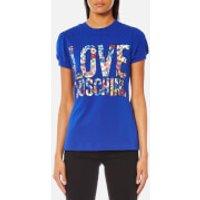Love Moschino Women's Floral Logo T-Shirt - Blue - IT 44/UK 12 - Blue