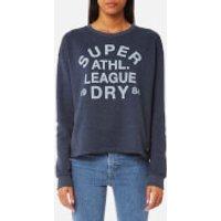 Superdry Womens Athletic League Loopback Crew Sweatshirt - 90s Denim Marl - XS - Blue
