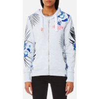 Superdry Womens Tokyo Burnout Hooded Jumper - Ice Marl - L - White