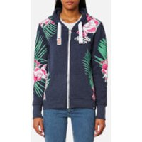 Superdry Womens Tokyo Burnout Zip Hooded Jumper - Princeton Blue Marl - S - Blue
