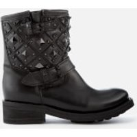 Ash Womens Trone Leather Studded Biker Boots - Black - UK 4 - Black