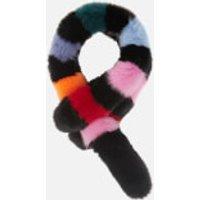 Charlotte Simone Women's Popsicle Faux Fur Scarf - Black/Multi Stripe