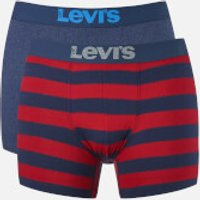 Levis Mens 200SF 2-Pack Rugby Stripe Boxers - Red/Navy - M - Red/Blue