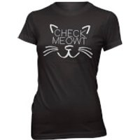 Check Meowt Womens Slogan T-Shirt - XXL - Black
