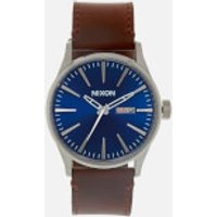 Nixon Mens The Sentry Leather Watch - Blue/Brown