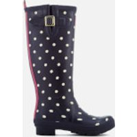 Joules Womens Welly Print Wellies - French Navy Spot - UK 3 - Blue