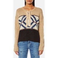 Maison Scotch Womens Jacquard Knitted Jumper - Combo A - S - Cream