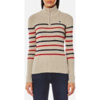 Maison Scotch Womens Fitted Pullover with Zip Detail - Combo A - L - Beige