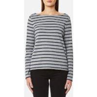 GANT Womens Breton Stripe Boatneck Jumper - Grey Melange - S - Grey