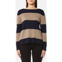 GANT Womens Block Stripe Merino Wool Crew Neck Jumper - Marine - S - Multi