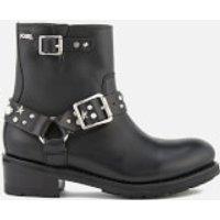 Karl Lagerfeld Women's Biker Leather Celestia Strap Lo Boots - Black w/Silver - UK 4 - Black