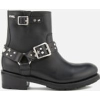 Karl Lagerfeld Women's Biker Leather Celestia Strap Lo Boots - Black w/Silver - UK 5 - Black