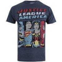 DC Comics Mens Justice League Line Up T-Shirt - Charcoal Marl - S - Grey