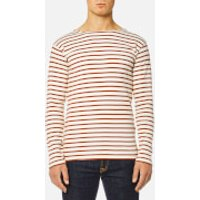 Armor Lux Men's Heritage Breton Stripe Long Sleeve Top - Nature/Brick - L - Cream
