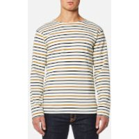 Armor Lux Mens 4 Stripe Long Sleeve Top - Nature/Acacia/Seal - M - Cream