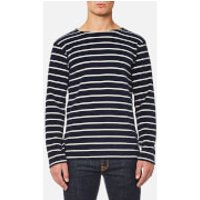Armor Lux Men's Towelling Long Sleeve Stripe Top - Seal Nature - L - Blue